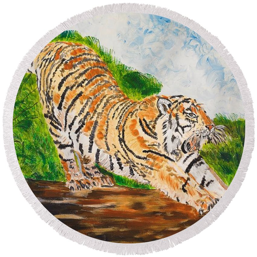 Cat Round Beach Towel featuring the painting Tiger Stretching by Valerie Ornstein