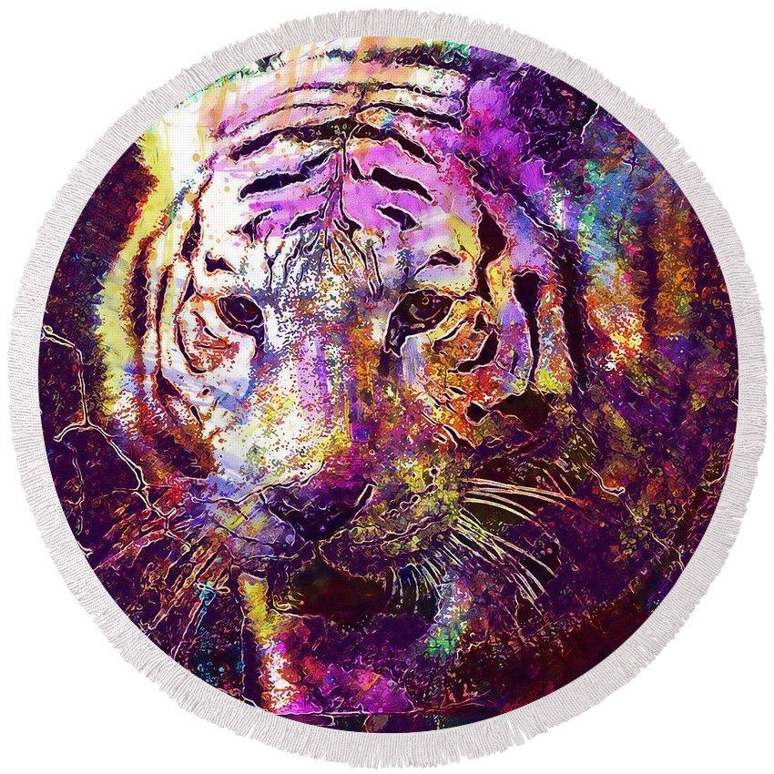 Tiger Round Beach Towel featuring the digital art Tiger Surreal Painting Predator by PixBreak Art