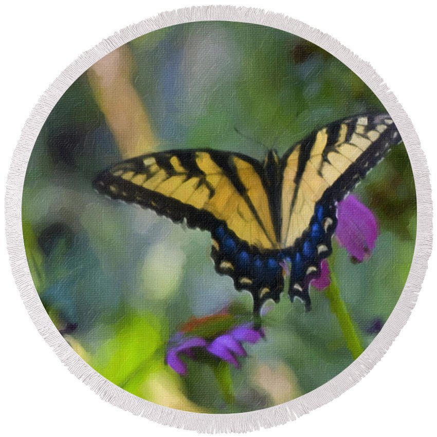 Tiger Round Beach Towel featuring the painting Tiger Swallowtail Painting by Teresa Mucha
