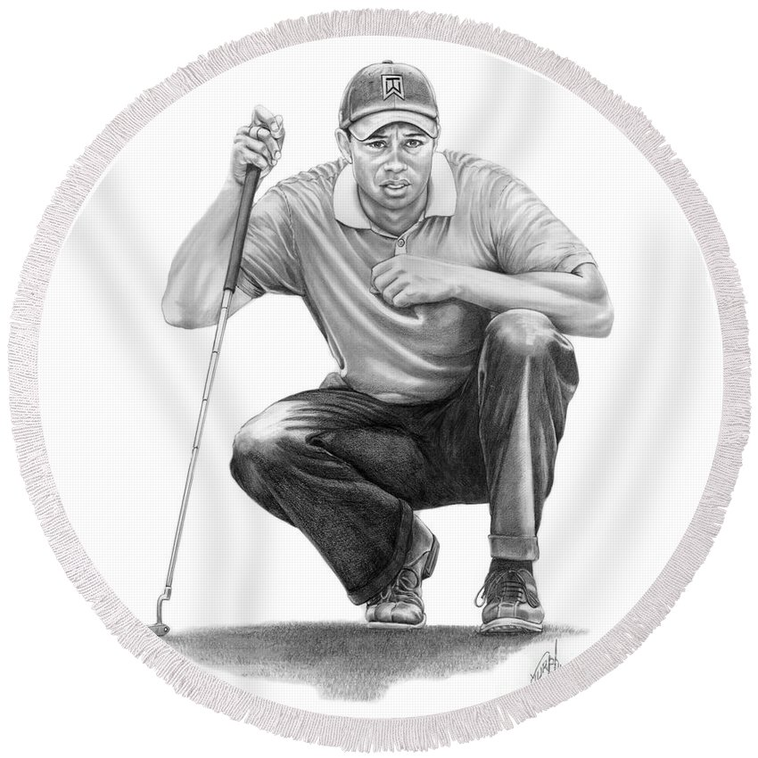 Pencil Round Beach Towel featuring the drawing Tiger Woods Crouching Tiger by Murphy Elliott