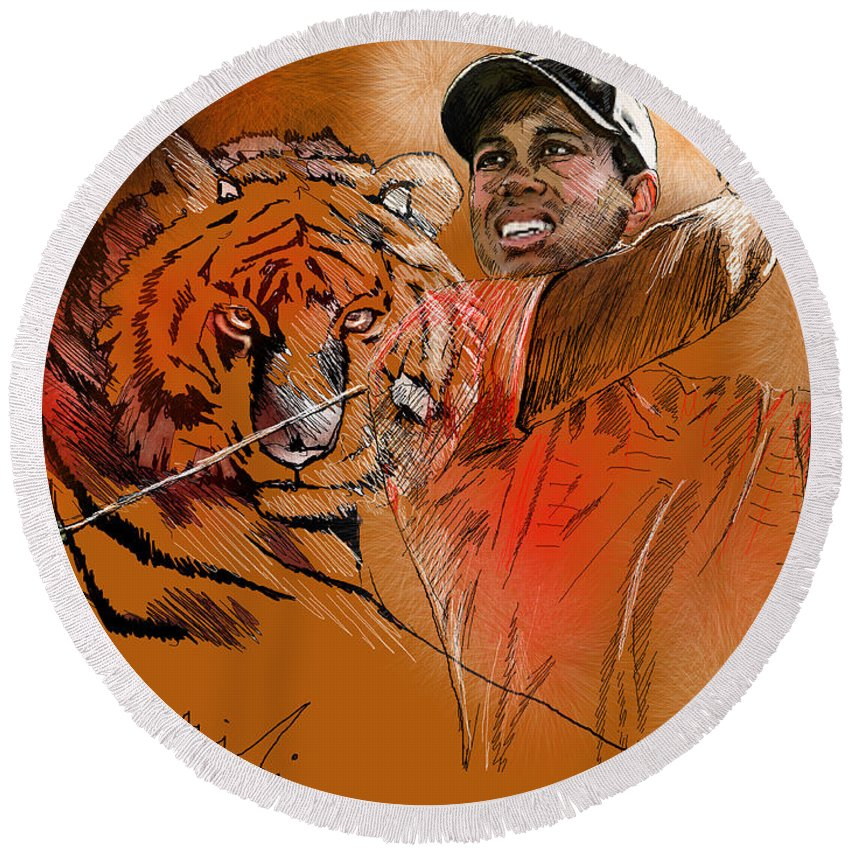 Golf Art Painting Portrait Tiger Woods Aninla Tiger Round Beach Towel featuring the painting Tiger Woods Or Earn Your Stripes by Miki De Goodaboom