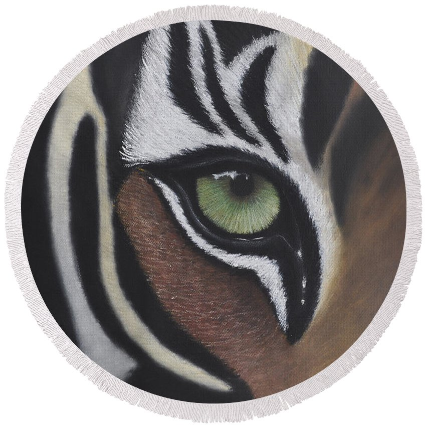Tiger Round Beach Towel featuring the pastel Tiger's Eye by Lens and Pencil Studios