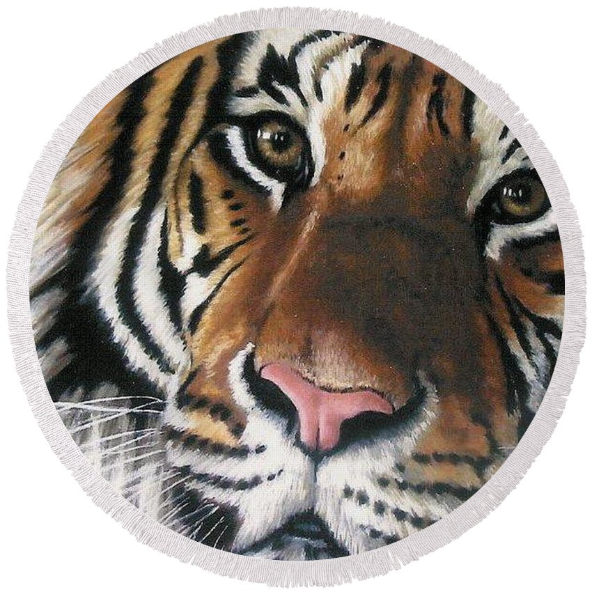 Tiger Round Beach Towel featuring the pastel Tigger by Barbara Keith