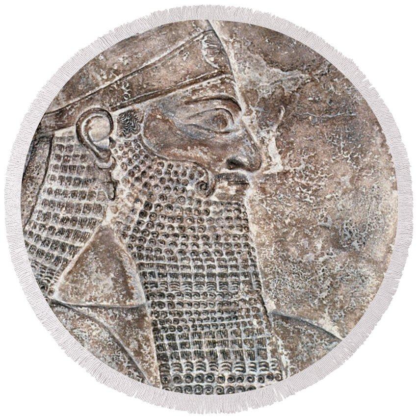 8th Century B.c. Round Beach Towel featuring the photograph Tiglath Pileser IIi by Granger
