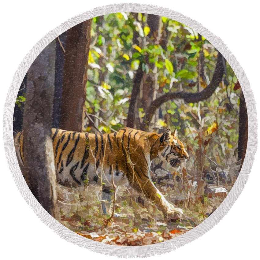 Tiger Round Beach Towel featuring the digital art Tigress Walking Through Sal Forest In Pench Tiger Reserve India by Liz Leyden