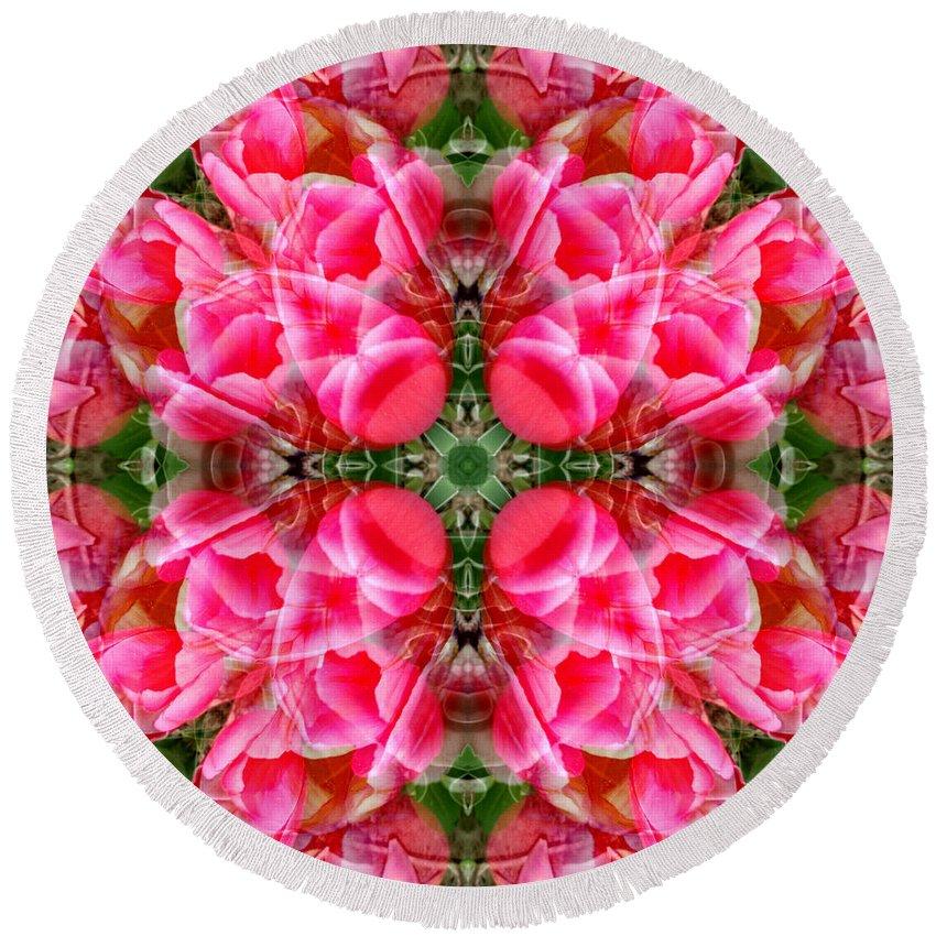 Tiki Round Beach Towel featuring the digital art Tiki Tulip Mandala by Susan Bloom