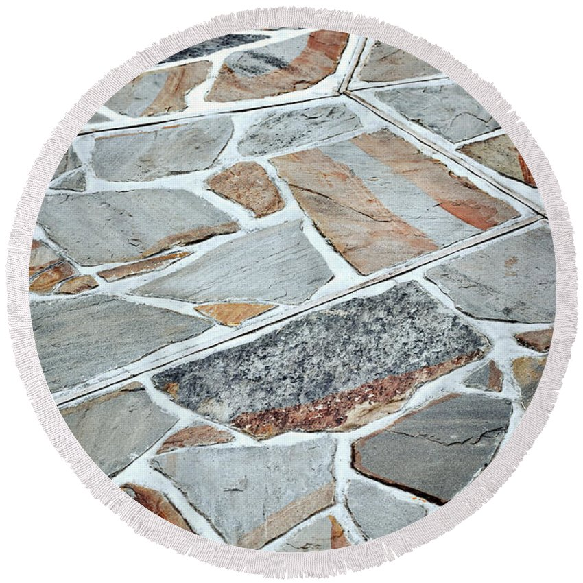 Structure Round Beach Towel featuring the photograph Tiles From Sandstone Quarried Stone by Jozef Jankola