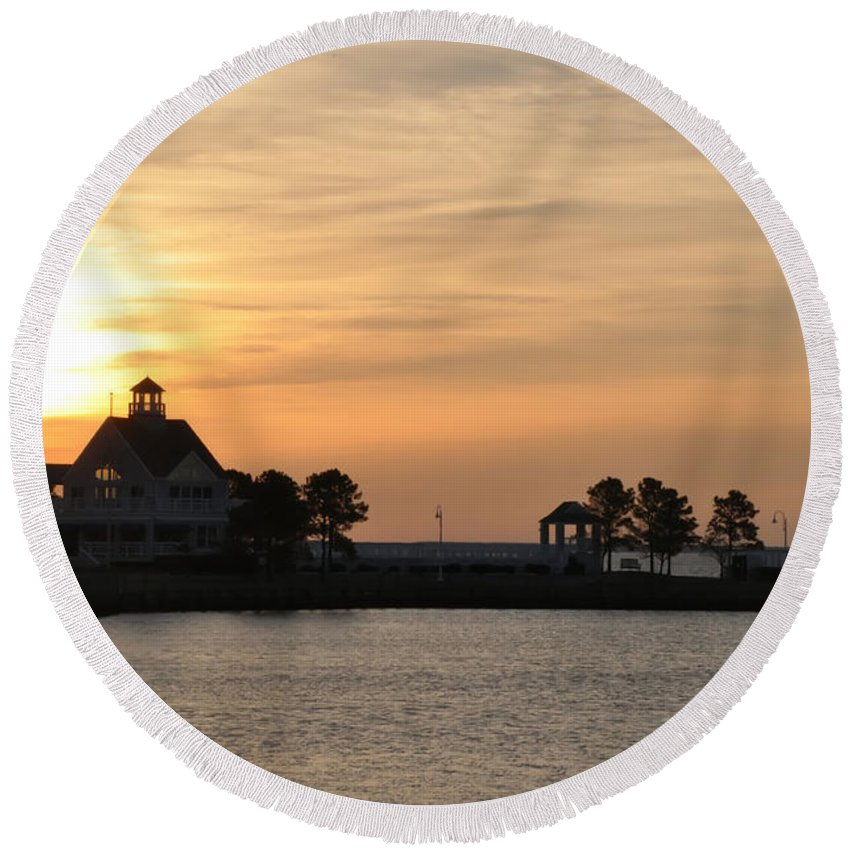 Tilghman Island Marina At Sunrise Round Beach Towel featuring the photograph Tilghman Island Marina At Sunrise by Bill Cannon