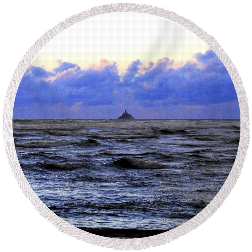Lighthouse Round Beach Towel featuring the photograph Tillamook Rock Lighthouse by Will Borden