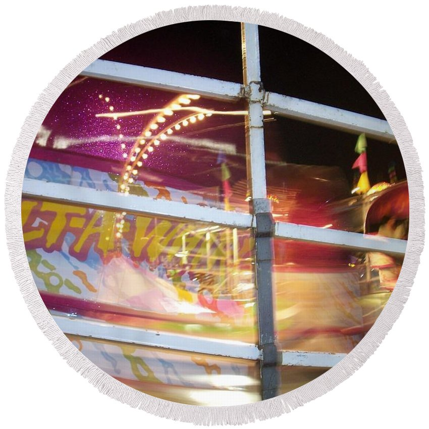 State Fair Round Beach Towel featuring the photograph Tilt-a-whirl 1 by Anita Burgermeister