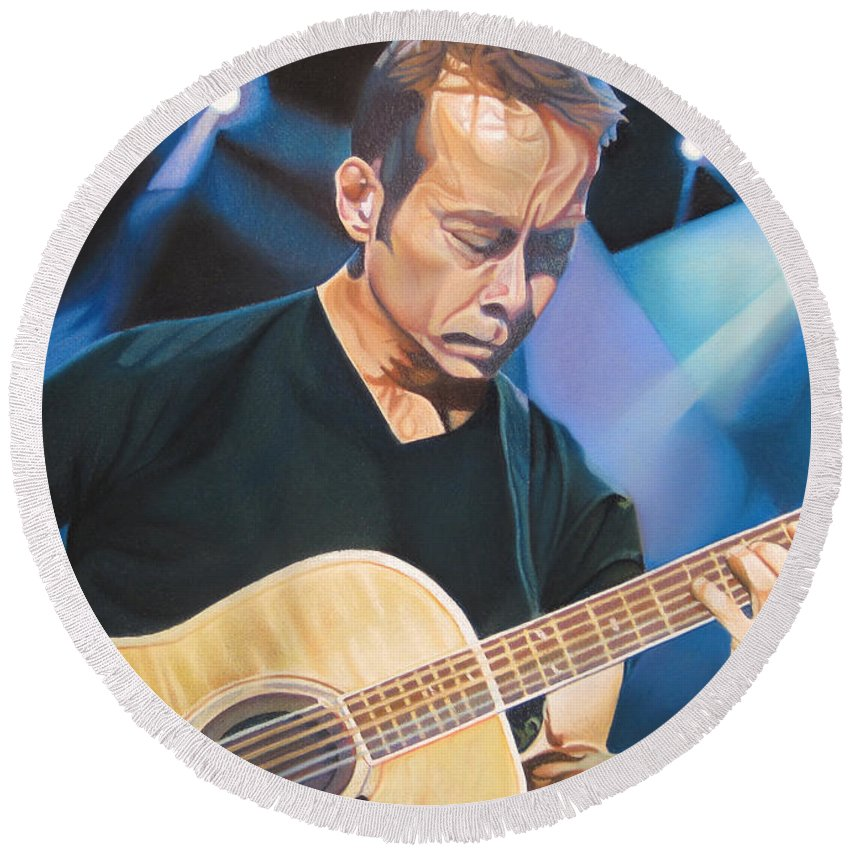 Tim Reynolds Round Beach Towel featuring the drawing Tim Reynolds And Lights by Joshua Morton
