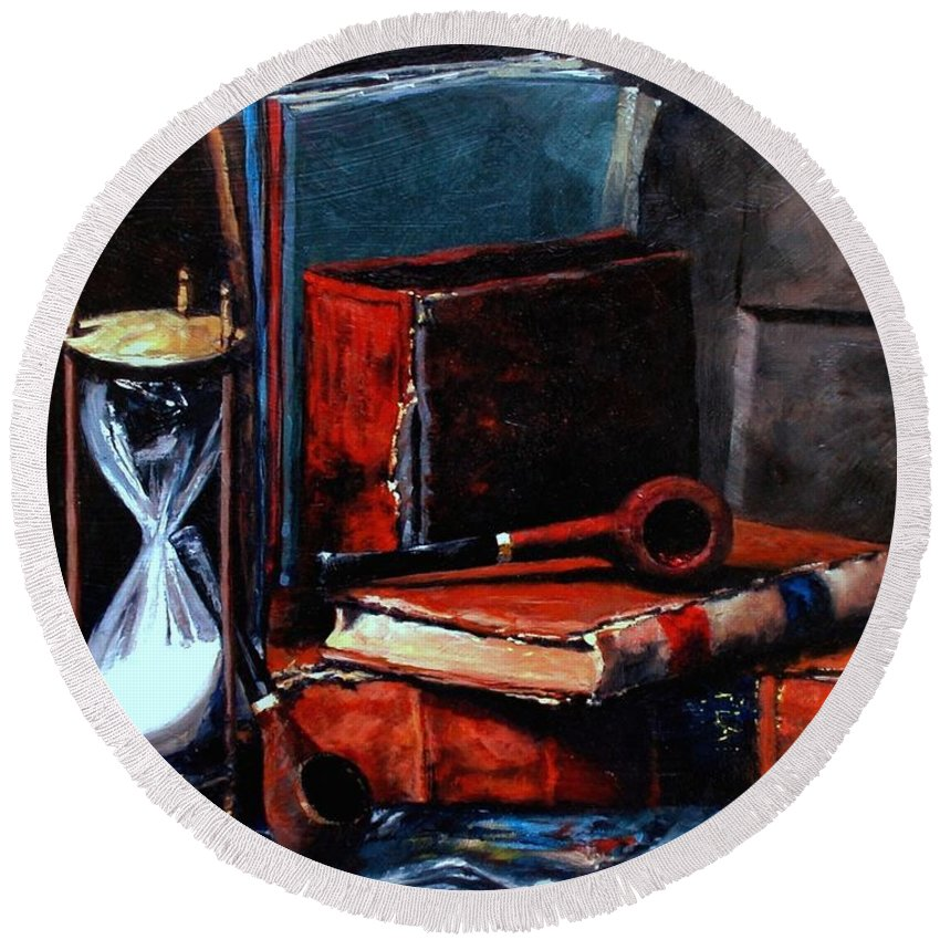 Still Life Painting Round Beach Towel featuring the painting Time And Old Friends by Jim Gola