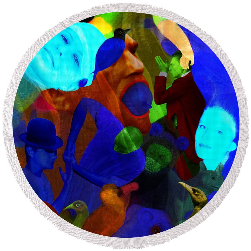 Color Round Beach Towel featuring the digital art Time Does Not Stop. by Andrzej Pietal