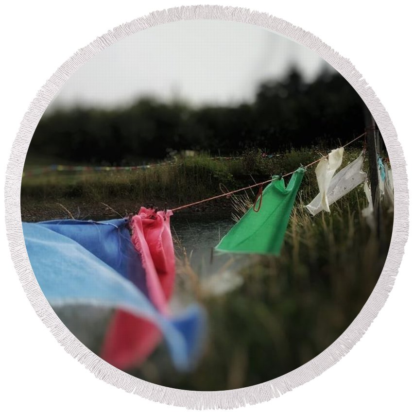 Prayer Flags Round Beach Towel featuring the photograph Time For Optimism by Rowan Box
