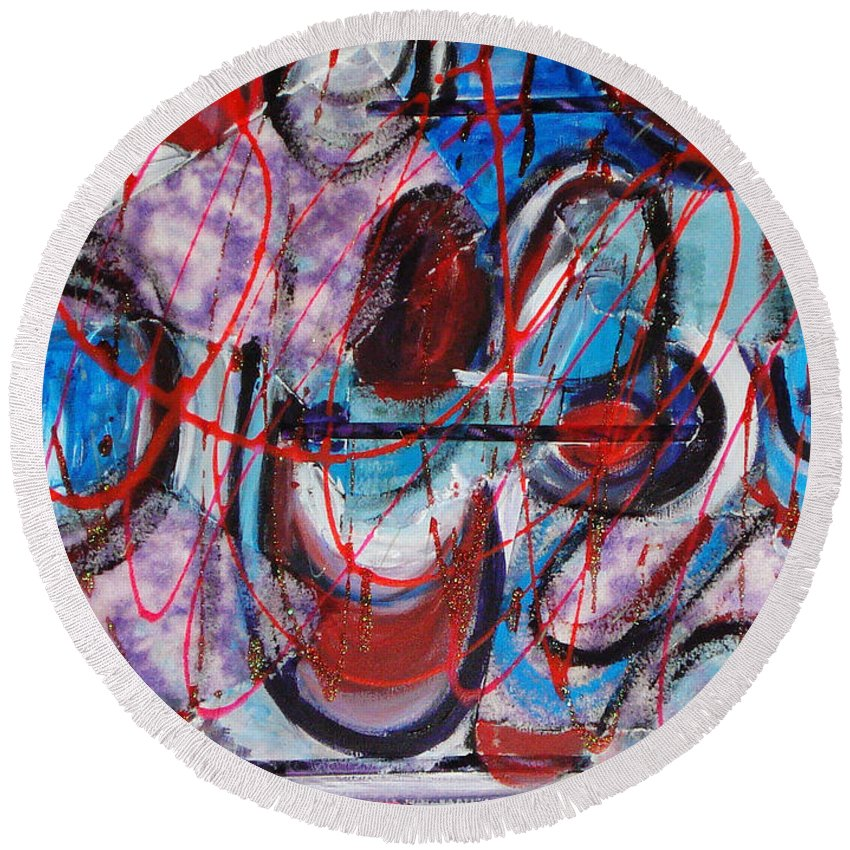 Acrylic Abstract Round Beach Towel featuring the painting Time Goes By by Yael VanGruber