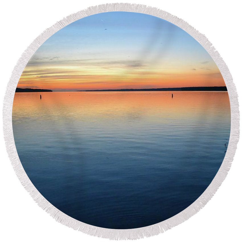 Abstract Round Beach Towel featuring the photograph Time Of Dawn by Lyle Crump