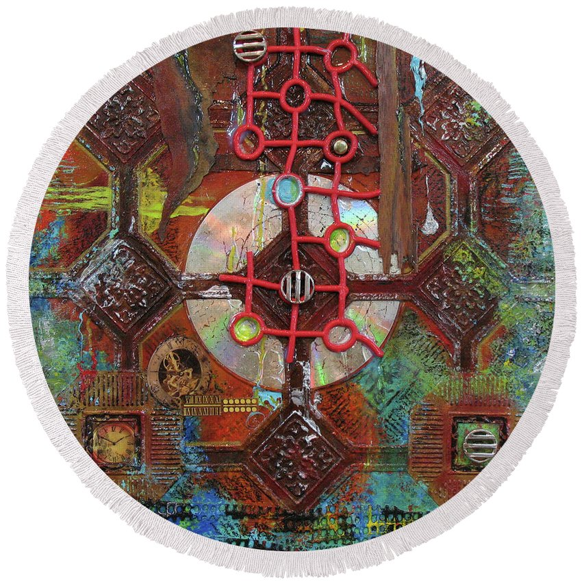 Assemblage Painting Round Beach Towel featuring the painting Time Passage II by Elaine Booth-Kallweit