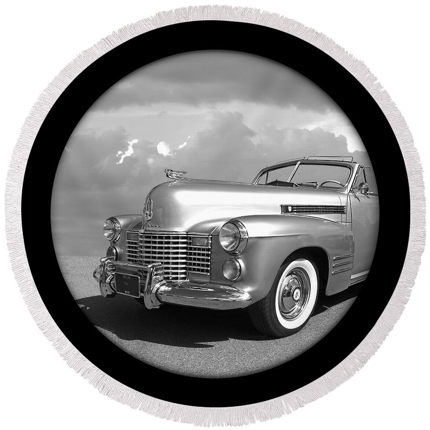 Cadillac Round Beach Towel featuring the photograph Time Portal - '41 Cadillac by Gill Billington