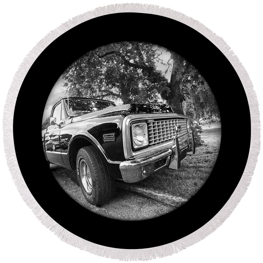Chevrolet Truck Round Beach Towel featuring the photograph Time Portal - '71 Chevy by Gill Billington