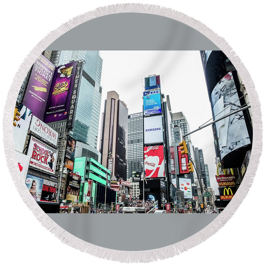 Time Square Round Beach Towel featuring the photograph Time Square by Lamyl Hammoudi