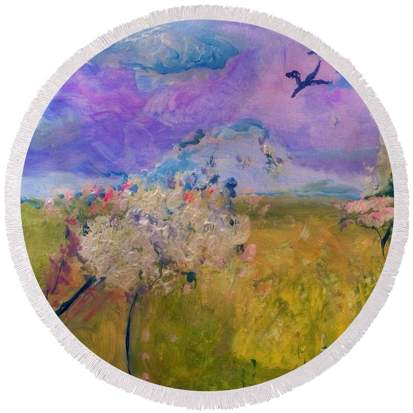 Breeze Round Beach Towel featuring the painting Time To Feel The Breeze by Judith Desrosiers