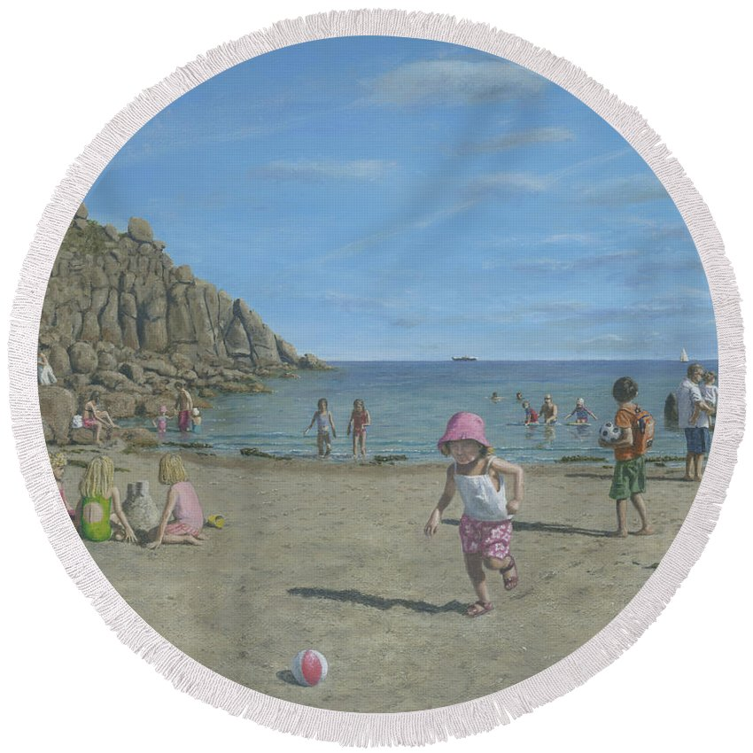 Seascape Round Beach Towel featuring the painting Time To Go Home - Porthgwarra Beach Cornwall by Richard Harpum