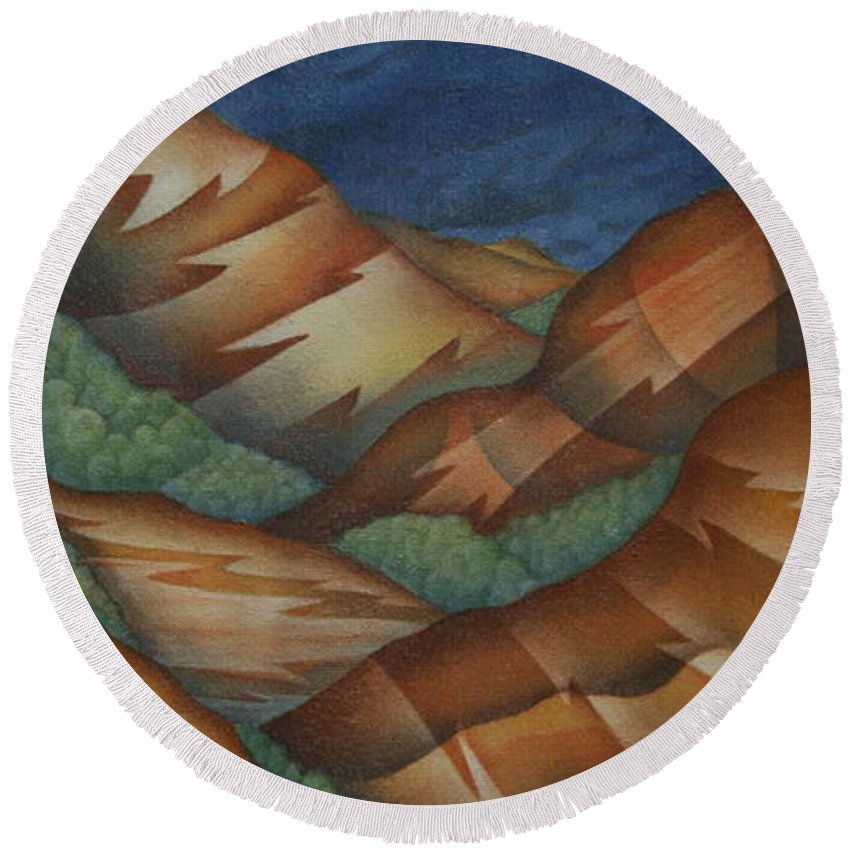 Mountains Round Beach Towel featuring the painting Time To Seek Shelter by Jeniffer Stapher-Thomas