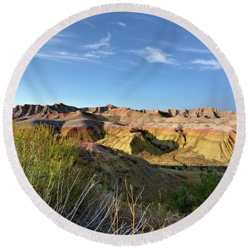 Badlands Round Beach Towel featuring the photograph Time Washed by Bonfire Photography