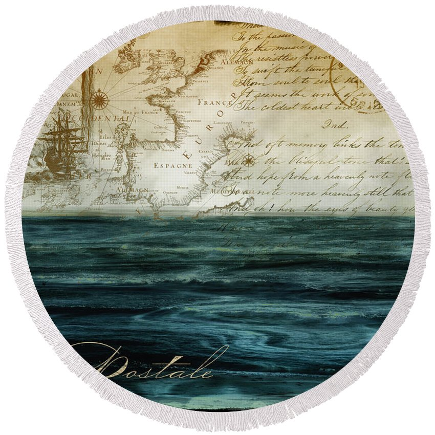 Sea Round Beach Towel featuring the painting Timeless Voyage II by Mindy Sommers