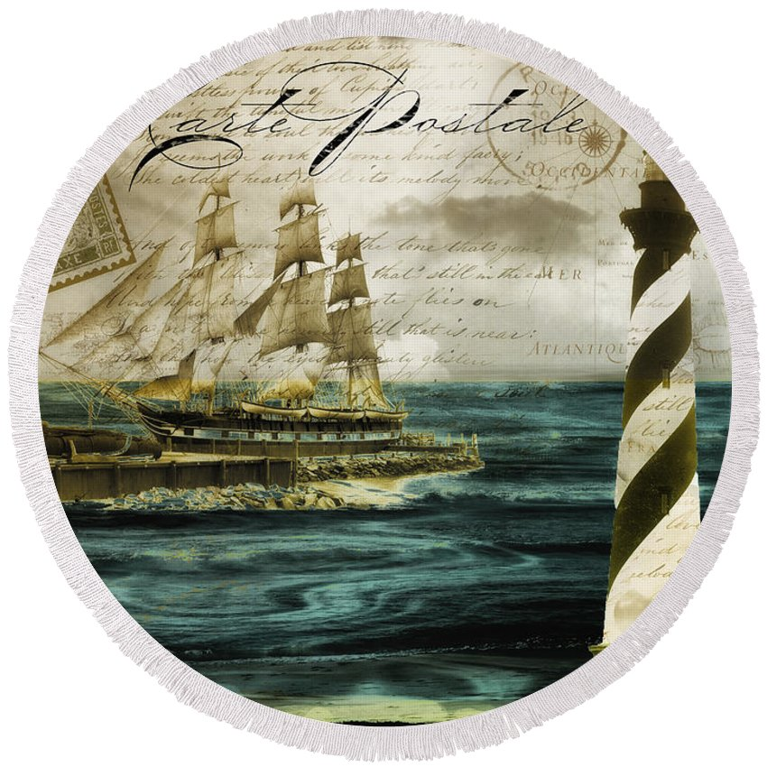 Sea Round Beach Towel featuring the painting Timeless Voyage by Mindy Sommers