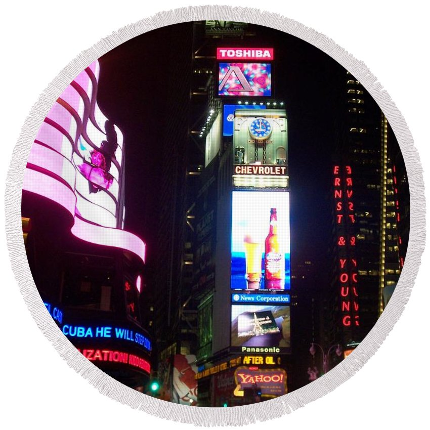 Times Square Round Beach Towel featuring the photograph Times Square 1 by Anita Burgermeister