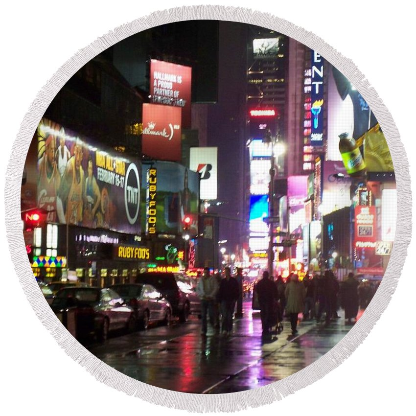 Times Square Round Beach Towel featuring the photograph Times Square In The Rain 1 by Anita Burgermeister
