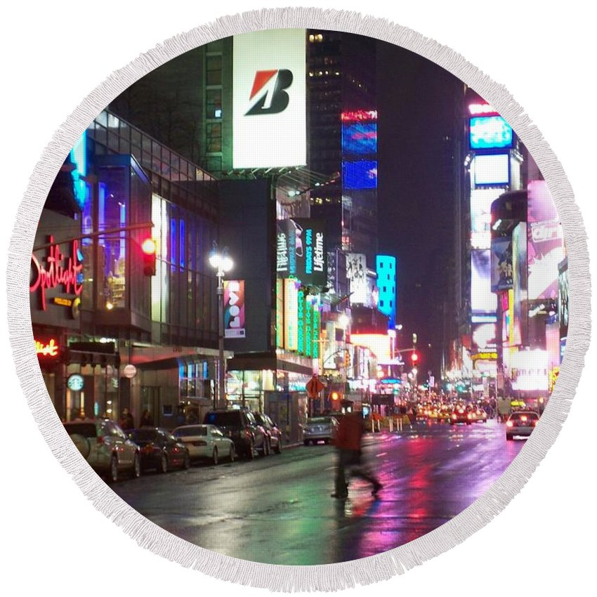 Times Square Round Beach Towel featuring the photograph Times Square In The Rain 2 by Anita Burgermeister
