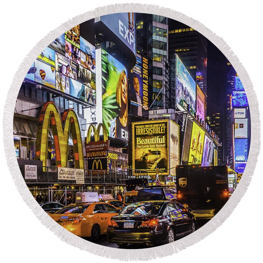 City Round Beach Towel featuring the photograph Times Square Pano by Nick Zelinsky