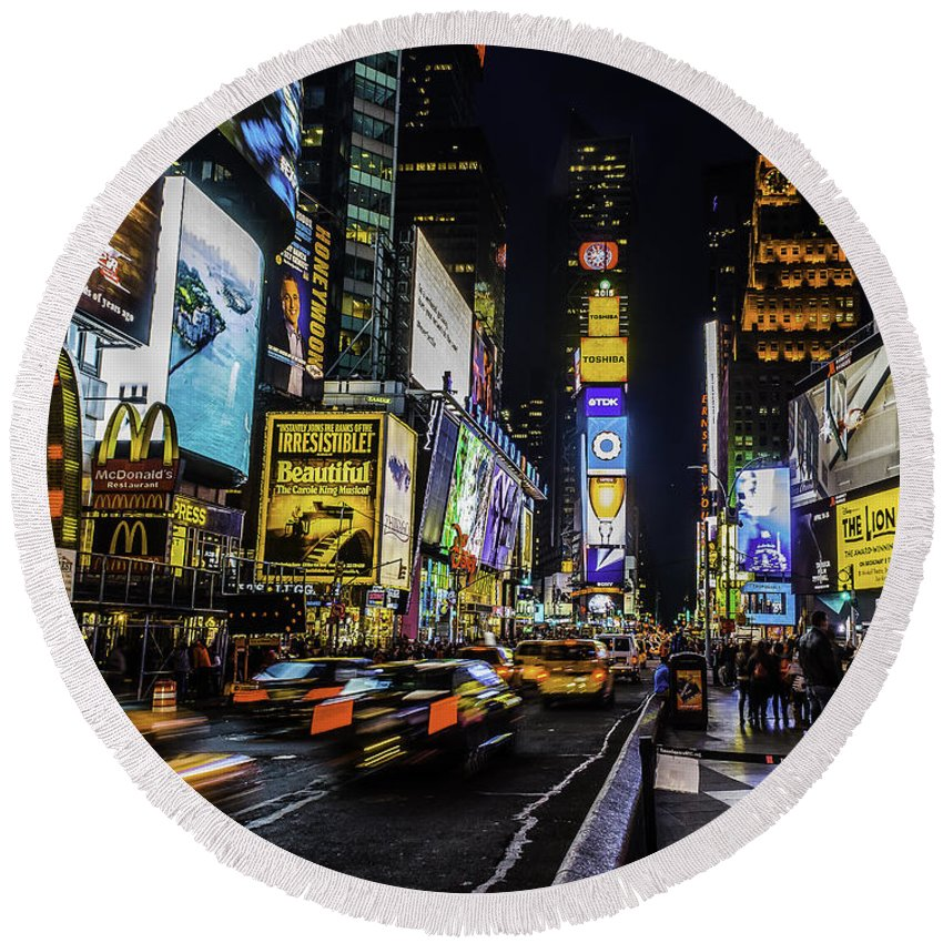City Round Beach Towel featuring the photograph Times Square Traffic by Nick Zelinsky