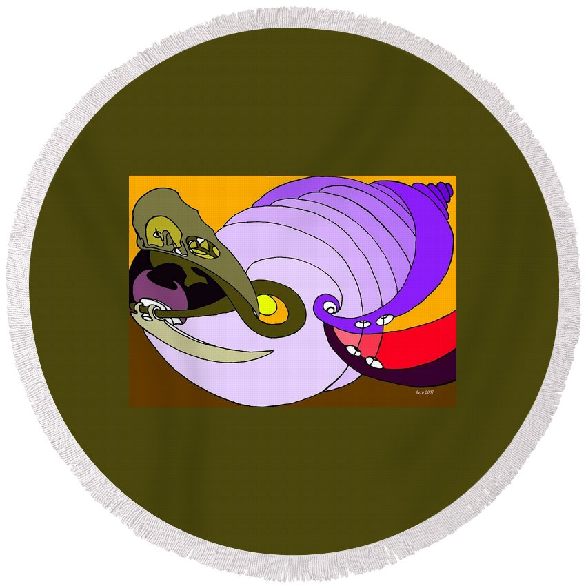 Timespiral Round Beach Towel featuring the mixed media Timespiral by Helmut Rottler