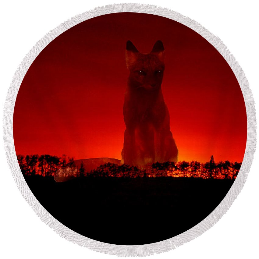 Fox Sunset Trees Wild Animal Red Sky Cloudy Round Beach Towel featuring the photograph Timmys Sunset by Andrea Lawrence