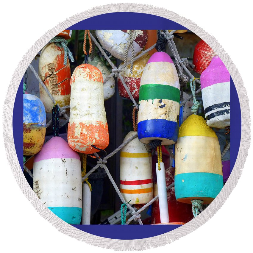 Buoys Round Beach Towel featuring the photograph Tin Shed Floats by Carla Parris
