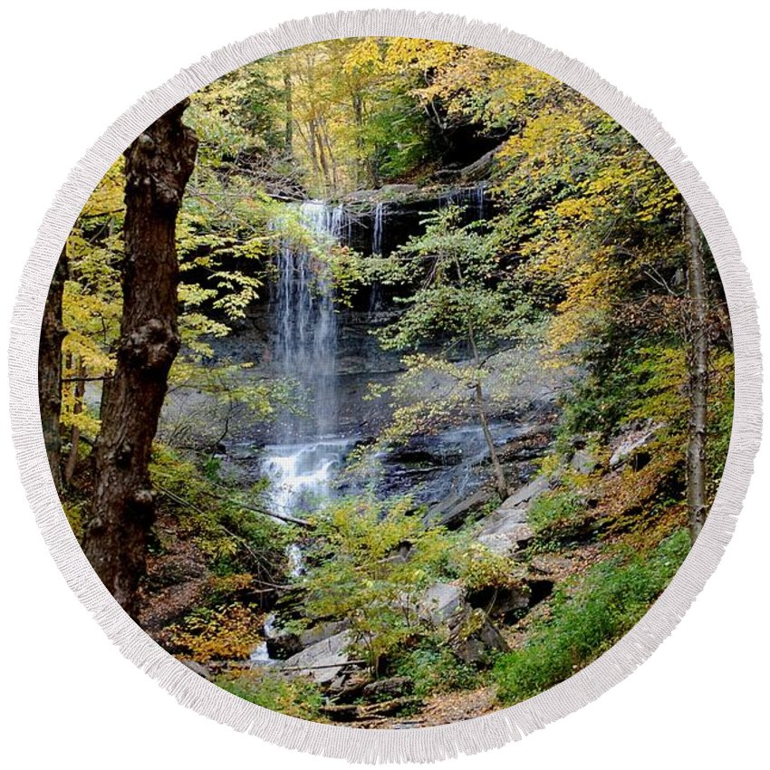 Digital Photograph Round Beach Towel featuring the photograph Tinker Falls by David Lane