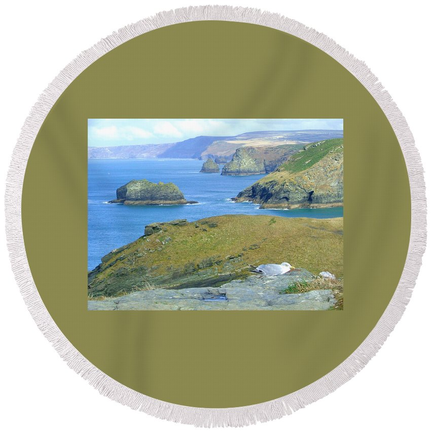 Cornwall Round Beach Towel featuring the photograph Tintagel by Heather Lennox