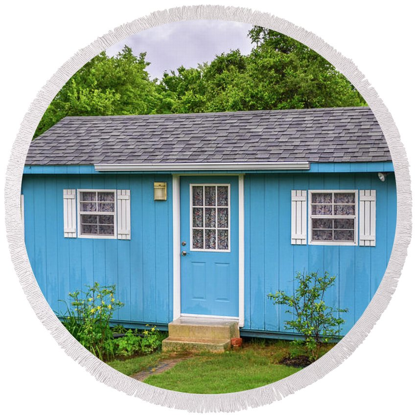 Logs Round Beach Towel featuring the photograph Tiny Blue House by Soni Macy