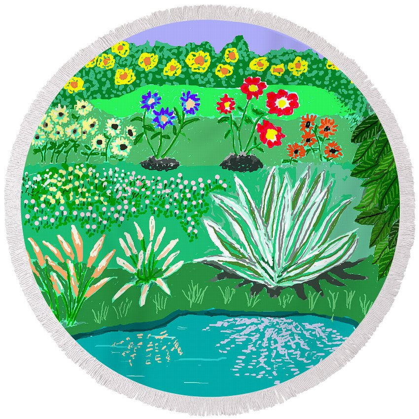 Floral Round Beach Towel featuring the painting Tiny Garden by Fred Jinkins
