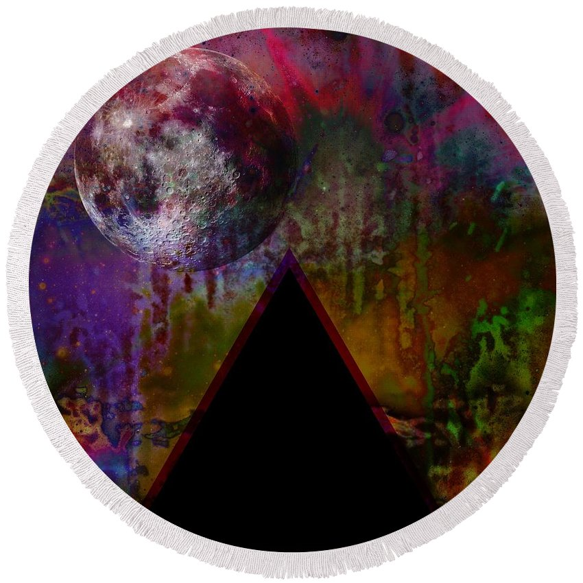 Tipping Point Round Beach Towel featuring the digital art Tipping Point by Darin Baker