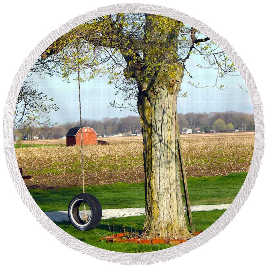 Tire Swing Round Beach Towel featuring the photograph Tree Tire Swing by Gravityx Designs