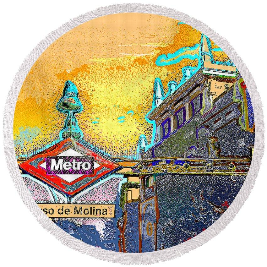 Tirso-de-molina Round Beach Towel featuring the digital art Tirso De Molina Metro Entrance Madrid by Alan Armstrong