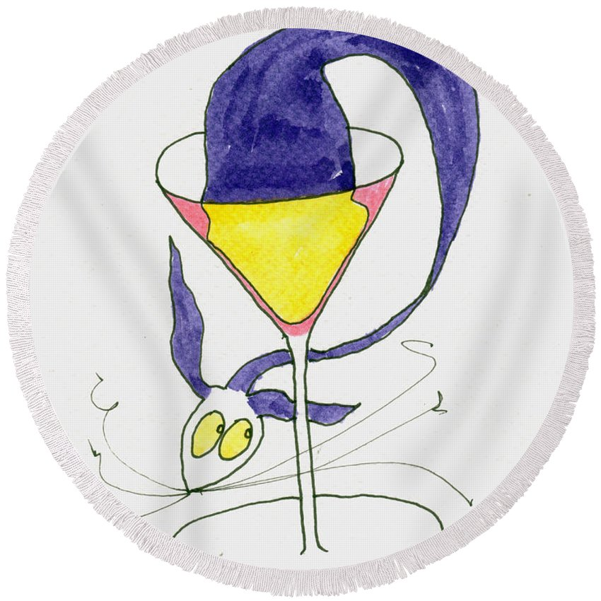 Osmosis Round Beach Towel featuring the painting Tis Osmosis by Tis Art