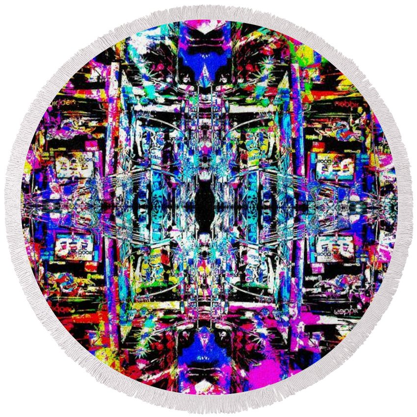 Abstract Round Beach Towel featuring the painting Tis World Tomorrow by Don Barrett