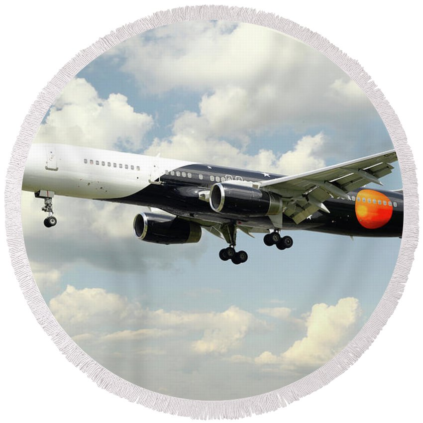 Titan Airways Round Beach Towel featuring the digital art Titan Airways Boeing 757 by J Biggadike