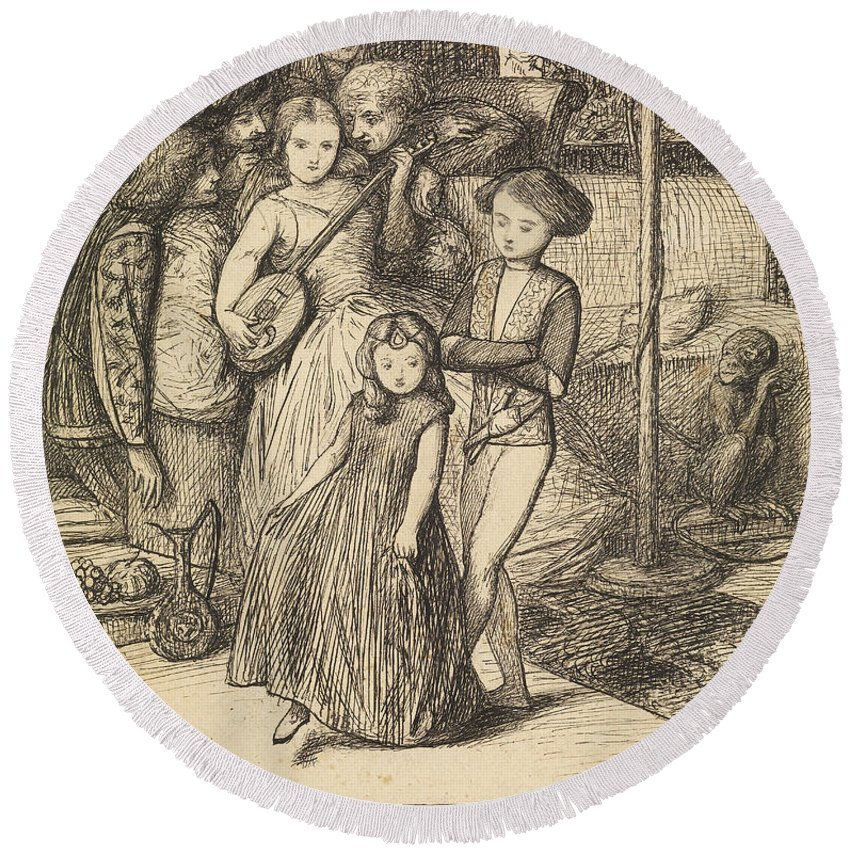 Dante Gabriel Rossetti Round Beach Towel featuring the drawing To Caper Nimbly In A Lady's Chamber To The Lascivious Pleasing Of A Lute by Dante Gabriel Rossetti