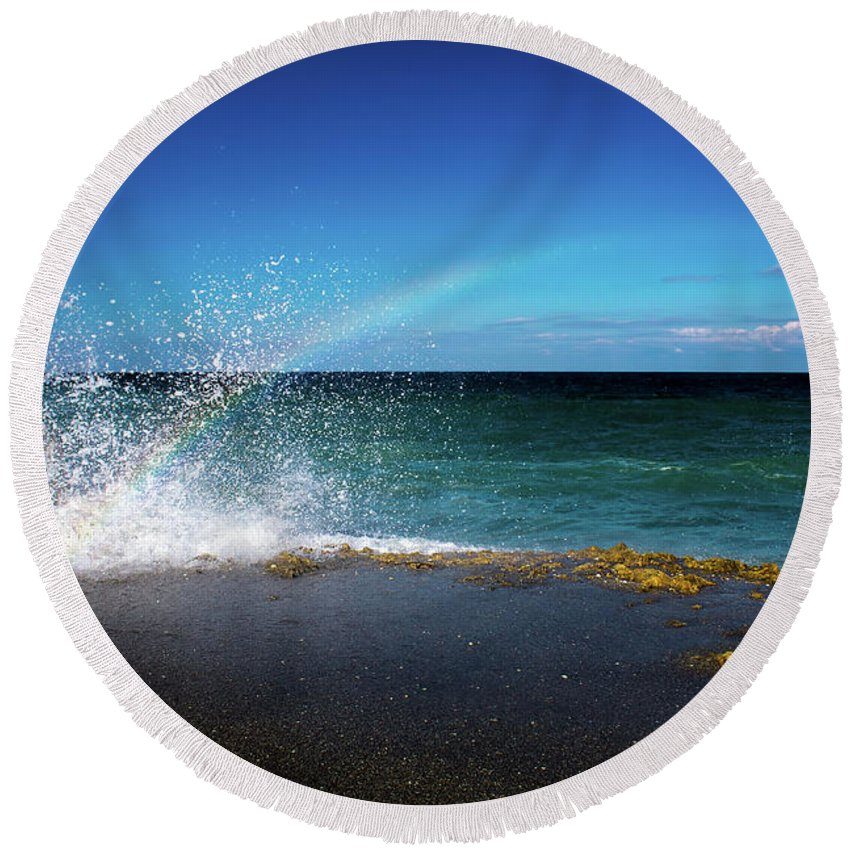 Rainbow Round Beach Towel featuring the photograph To Catch A Rainbow by Mark Andrew Thomas
